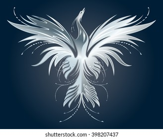 Stylized image of silver Phoenix silhouette on dark blue background. Vector illustration template for  print, tattoo, mascot