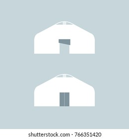Stylized image of white yurt on a light grey background. Vector illustration.