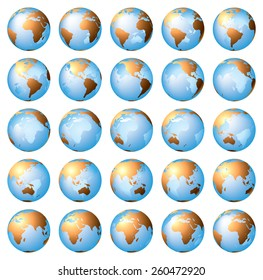 Stylized images of different rotation phases of globe. Vector illustration isolated on white background