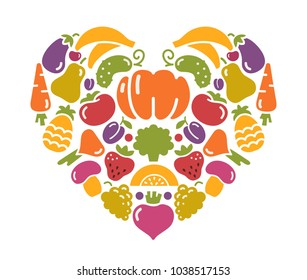 Stylized images of fruits and vegetables in the shape of a heart