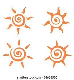A of stylized images of the sun