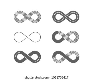 Stylized infinity symbol. Set of monochrome icons with Infinity symbols. Vector illustration for your design.