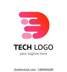 Stylized initial letter D - digital logo template with sample company name and tagline. Simple vector icon design. Neural network tech, blockchain or artificial intelligence technology symbol