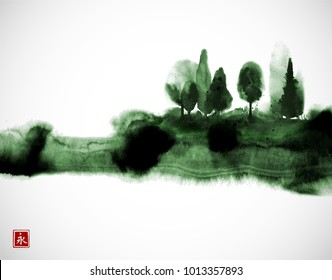 Stylized ink wash painting with green misty forest trees. Traditional oriental ink painting sumi-e, u-sin, go-hua. Hieroglyph - eternity.