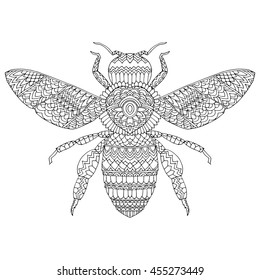 The stylized insect. Wasp. Bumblebee. Hornet. Fly. Line art. Black and white drawing by hand. Tattoo. Doodle. Graphic arts. Zentangle.