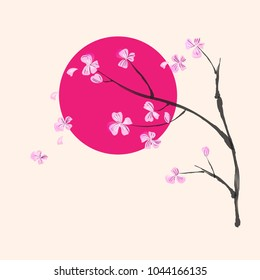 """Stylized """"Japan"""" pattern: flowering branch on a background of crimson circle"""