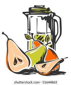 Stylized jug of juice  with pear isolated on a white background. Trendy hand drawn style.