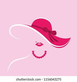 stylized lady with pink hut and pearl necklace vector illustration EPS10
