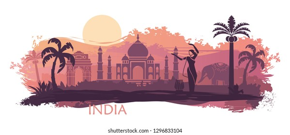 Stylized landscape of India with the Taj Mahal, an elephant and a dancer. Abstract skyline with spots and splashes of paint