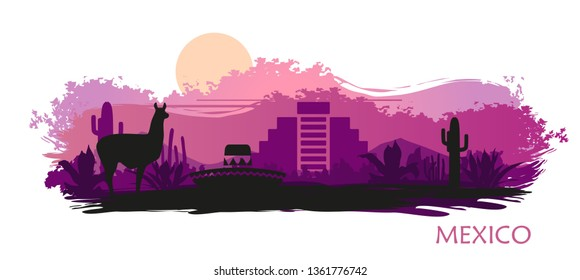 Stylized landscape of Mexico with a llama, cactuses and ancient pyramid. Abstract skyline at sunset with spots and splashes of paint