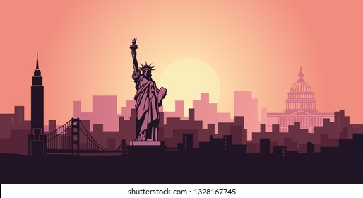 Stilvolle Landschaft von New York mit den Sehenswürdigkeiten der Vereinigten Staaten. Abstrakte Skyline im Morgengrauen