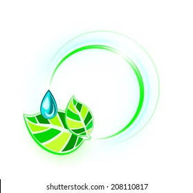 Stylized leaves with a droplet, on the background of shiny circles, EPS 10
