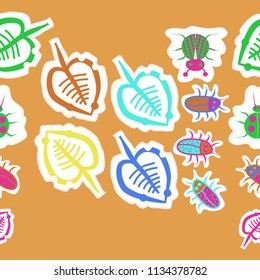 Stylized  leaves, lady bugs,  beetles,doodles,dotted lines, labels  seamless pattern.