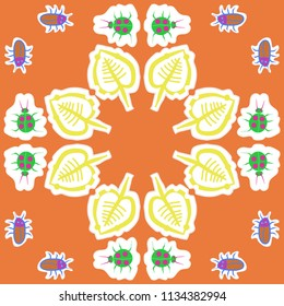 Stylized  leaves, lady bugs,  beetles,doodles,dotted lines, labels pattern.