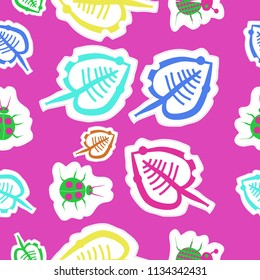 Stylized  leaves, lady bugs, doodles,dotted lines, labels seamless  pattern.