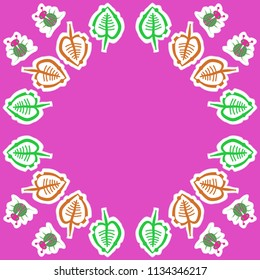 Stylized  leaves, lady bugs, doodles,dotted lines, labels pattern.