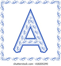"The stylized letter ""A"" with elements of Chinese porcelain.. Around the character is a blue pattern in form of frame."