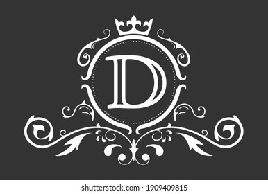 Stylized letter D of the Latin alphabet. Monogram template with ornament and crown for design of ials, business cards, logos, emblems and heraldry. Vector illustration