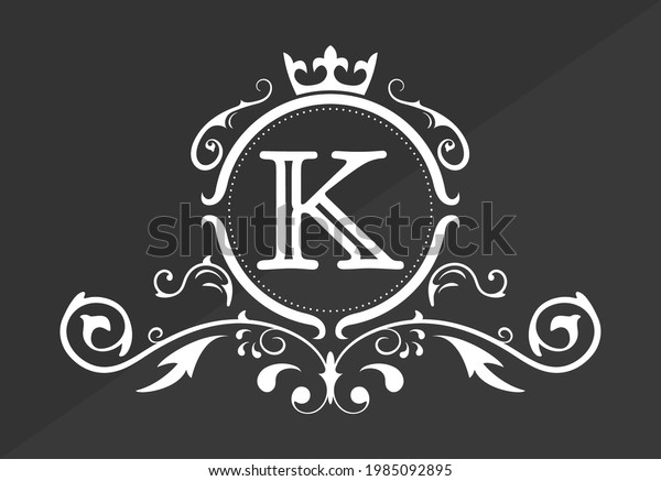 Stylized letter K of the Latin alphabet. Monogram template with ornament and crown for design of ials, business cards, logos, emblems and heraldry. Vector illustration