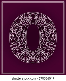 Stylized letter O. Paper cutting, wood cutting. Logo, icon, board