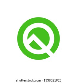 Stylized letter Q. Android 10, Android Q logo vector, letter Q in green color. Vector Illustration. EPS 10