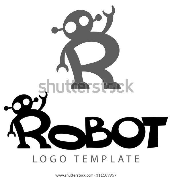 stylized lettering picture robot like letter stock vector