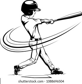 Stylized line illustration of a boy swinging for the fences in a baseball game.