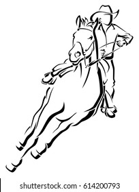 Stylized line illustration of a cowboy on a horse racing.