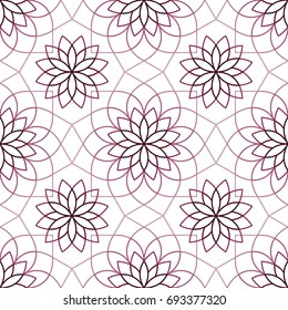 Stylized linear Chrysanthemum flower pattern in shades of purple. Geometric monoline background. Vector seamless repeat.