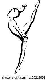Stylized lines of a female gymnast performing a high kick in a floor exercise
