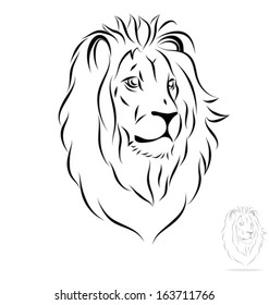 stylized lion head. Front view. Black outlines - vector illustration
