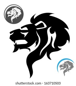 stylized lion head. Side view. Vector illustration