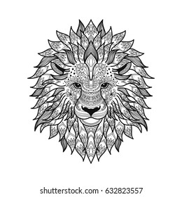 stylized lion head in zen tangle graphic style with patterned mane and herbal ethnic ornaments. coloring page for adult. hand drawn illustration in vector