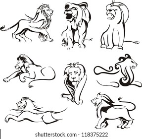 Stylized lions. Set of black and white vector illustrations.