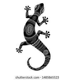 Stylized lizard. Black white reptile illustration. Vector logo lizards. Tattoo.