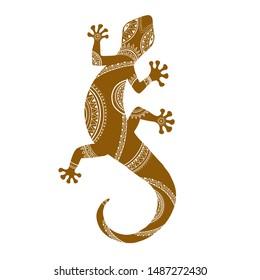 Stylized lizard. Black white reptile illustration. Vector logo lizards. Tattoo. Tribal