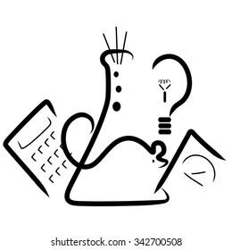 A stylized logo with elements for a science fair. A beaker, a mouse,a calculator, a light bulb and a scale