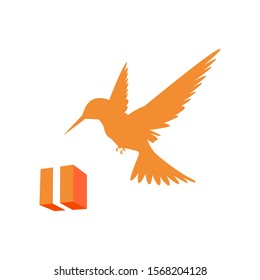 Stylized logo icon or color. Illustration of the isolated colibri symbol vector. Colibri carries a parcel in a beak