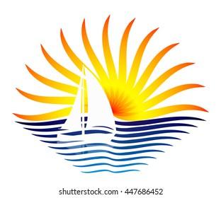 A stylized logo. Sun, sea and white sailboat.