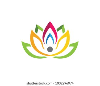 Stylized lotus flower icon logo Template