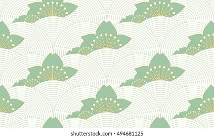 stylized lotus pond seamless pattern in ivory and green shades