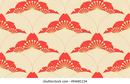 stylized lotus pond seamless pattern in red and green shades
