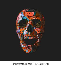 Stylized low poly orange skull in tribe style on dark background