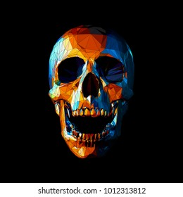 Stylized low poly orange skull in tribe style on dark background