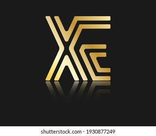 Stylized lowercase letters X and E with reflection, connected by a single line for logo, monogram and creative design. Vector illustration isolated on black.