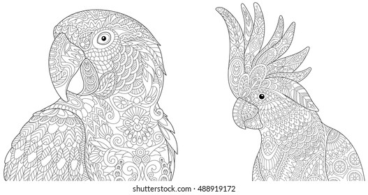 Stylized macaw (arara) and cockatoo parrots, isolated on white background. Set collection for adult anti stress coloring book page with doodle and zentangle elements.
