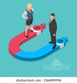 Stylized magnet with gender symbols.Symbol of unity,attraction.Concept of joint action.Mutual application of effort. Equality of the man,woman.3D.Isometry. A vector illustration in flat style.