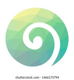 Stylized Maori symbol, colorful spiral shape based on silver fern frond. geometric logo icon