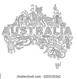 Stylized map of Australia. Sketches in the style of Australian aborigines