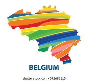 Stylized map of Belgium with abstract color stripes.vector illustration.